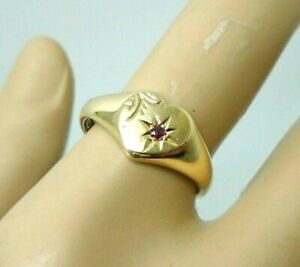 9ct Yellow Gold Hallmarked Heart Ruby Signet Ring Size O Free UK Shipping