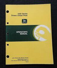 Genuine John Deere 1650 Series Drawn Chisel Plow Operators Manual Nice Shape