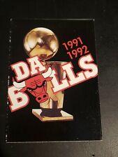 1991-1992 Chicago Bulls Basketball Pocket Schedule Da Bulls Michael Jordan