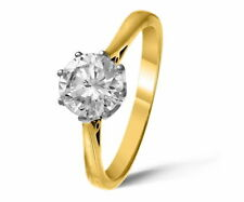 Round Solitaire Yellow Gold I2 Fine Diamond Rings