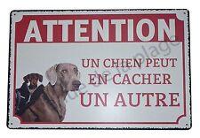 """Plaque humoristique Attention au chien """"Un chien peut en cacher un autre""""  NEUF"""