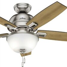 """Hunter 44"""" Ceiling Fan in Brushed Nickel with LED Bowl Light Kit"""
