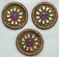 3 Hand-Beaded Appliques. Bullion & Purple Faux Gems