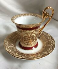 STUNNING SHAPE VINTAGE DRESDEN/VIENNA STYLE CONTINENTLE PORCELAIN CUP SAUCER,GC