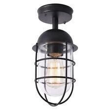 Black 1 Light Outdoor Ceiling Caged Lantern Modern Garden Lighting Litecraft