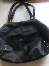 AGNES b VOYAGE LARGE BLACK LEATHER HANDBAG WITH BRASS STUDS