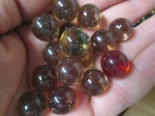 MARBLE LOT 2 LBS 15MM +OR- AMBER / RED COLOR MIX CHAMPION MARBLES FREE SHIPPING