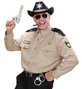 USA Sheriff Wild West Police Cop Mens Fancy Dress M/L + XL