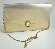 Ande Gold Lame Clutch Evening Purse Vintage Rhinestone Hinged Buckle Optional Ch