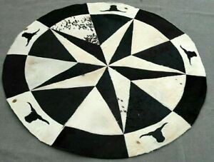 """100% Real Handmade Natural Cowhide Leather Carpet Area stitched  48"""" Carpet-2"""