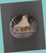 Action Skate Hand Painted Wooden High Gloss Lapel Pin by Cheryl Lee