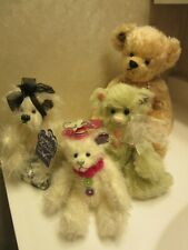 4 Collectible Annette Funicello Bear bears Mohair Necklace Buttons Pink Hearts