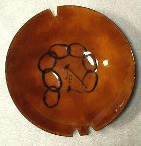"""Vintage Ashtray / Bowl 5 5/8"""" Wide Enamel on Copper Fantastic Design Signed 60s"""