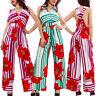 Overall donna tuta intera tutina righe fiori scollata elegante pantaloni VB-2395