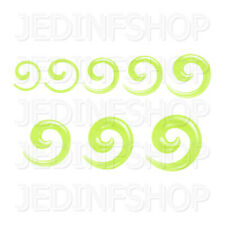 Ear Taper Stretcher - Spiral Snail | 1.6mm-10mm | Light Green Solid Acrylic