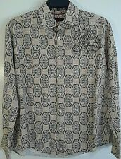 Contigo Men's XL Long Sleeve Button Down Ivory Color Geometric Pattern Shirt