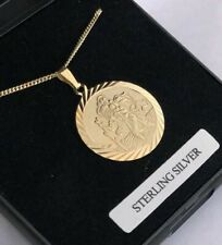 9ct Gold Over 925 Sterling Silver ST Christopher Pendant & 18inch Chain Boxed