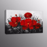 Landscape Home Wall Art Decor Red Flowers Oil Painting Canvas Prints Pictures