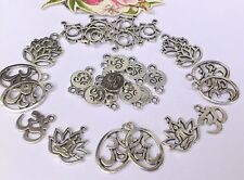 30  Large Oval Ohm Charms, & Lotus Yoga Leaf Charms & Chakra Connectors