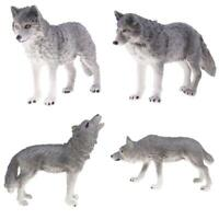 4x Realistic Grey Wolf Animal Model Action Figure Kids Educational Toy Gift