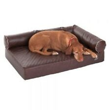 Orthopaedic Dog Sofa bed Brown memory foam faux leather hygienic Large Home