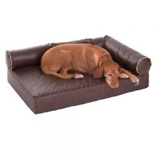 Orthopaedic Dog Sofa bed Brown memory foam faux leather hygienic Medium Home