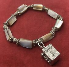Vintage Sterling Silver Bracelet 925 Charm Stretch Bead Shell Box Pendant