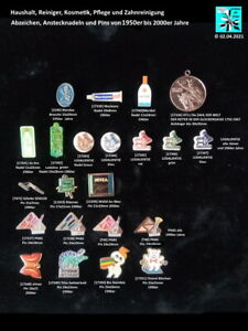 Haushalt, Reiniger, Kosmetik, Pflege und Zähne Abzeichen Anstecknadeln Pins +++