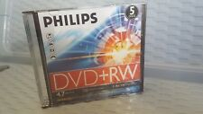 5 Philips DVD+RW. 4.7GB/120MINS. 1-4x