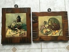 Set of 2 vintage Hank Bog pictures on wood plaques pot kettle lantern rustic