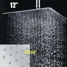 12-inch Square Stainless Steel Rain Shower Head Rainfall Bathroom Top Sprayer US