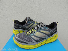 HOKA ONE ONE CONQUEST 2 GRAY/ CITRUS RUNNING SHOES, MENS US 9/ EUR 42 2/3