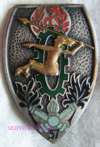 IN16241 - INSIGNE 57° Bataillon des Services, émail, roue vert foncé
