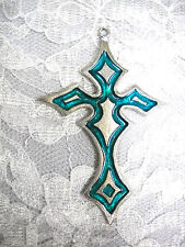 NEW TURQUOISE BLUE COLOR INLAY GOTHIC CROSS PEWTER PENDANT ON ADJ CORD NECKLACE