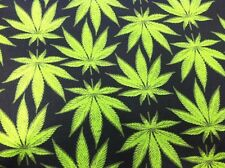 """New!!! Homegrown Marijuana Leaf Toss BLACK Cotton Fabric 54"""" Wide BY THE YARD"""