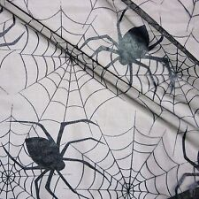 Black Halloween Tulle Net Fabric Black Patent Webs & Large Spiders (Per Metre)