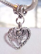 Angel Heart Love Lost Remembrance Dangle Bead for Silver European Charm Bracelet