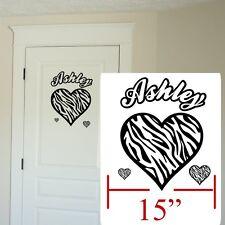 Zebra decal heart,Zebra sticker Personalized,Zebra wall door decal room sticker