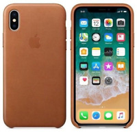 iPhone X Case Saddle Brown Natural Leather Original Protective Cover NEW