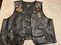 Vtg Harley-Davidson Black Leather Vest w/ Chain Extenders, patches, pins sz XXL