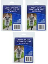 3pc Clear Plastic Polyethylene Rain Coat Poncho w/ Hood Reusable Outdoor Travel