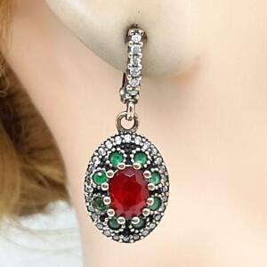 Deco 4.20ctw Ruby, Emerald & Diamond Cut Sapphire 14K Yellow Gold 925 Earrings