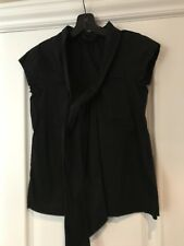 THEORY Tie Neck Short Sleeve Blouse Black  P