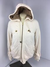 Marc Jacobs Ivory Cotton Blnd Cream Sherpa Lined Faux Fur Hoodie Zip Jacket Sz S
