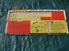 Vintage 1941 OHMITE Ohm's Law Calculator Slide Rule Chart