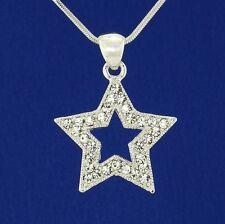 """Wish Star W Swarovski Crystal New Cute Pendant Necklace 18"""" Chain Jewelry Gift"""