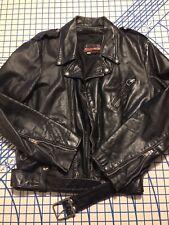 Vintage Distressed Brooks Leather Biker Jacket Usa Punk Ramones G.G Allin Metal