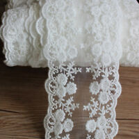 White Daisy Floral Tulle Lace Trim Embroidered Lace Fabric Dress Sewing 1yd Hot