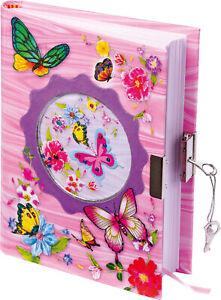 Kinder Tagebuch Schmetterlinge mit Schloss Poesiealbum Mädchen Kindertagebuch