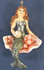 Mermaid with Pearl sitting in a Shell Ceiling Fan or Light Pull W/ Chain